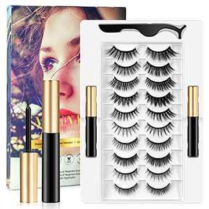 Magnetic Eyelashes with Eyeliner Kit, Rosmax 10 Pairs Reusable False Eyelashes Natural Look, Tweezers and Eyeliner, Easy to Wear No Glue Lashes Pack