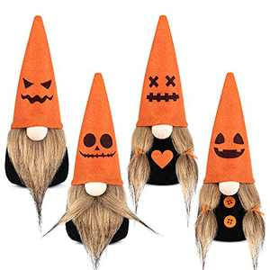 D-FantiX Halloween Gnomes Plush Decor, 4 Pack Handmade Tomte Swedish Gnome Nisse Scandinavian Gnomes Ornaments with Emotion Pumpkin Hat Halloween Decorations for Home Indoor Gift Set of 4