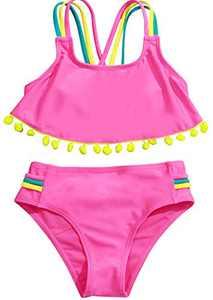 Loncoco Girl's Bikini Set Two-Pieces Swimwear Bathing Suits Solid Cross Back Multi Straps Beach Sunsuit Size 3
