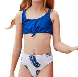 Loncoco Little Girl Swimsuits Kids Cute Tankini Leaf Two Piece Swimwear Straps Sleeveless Bathing Suit Size 7