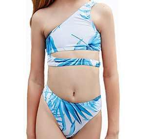 Loncoco Girl's Tankini Set One Shoulder Two Piece Swimsuit Leaf Bathing Suit Kids Cute Swimwear Size 6