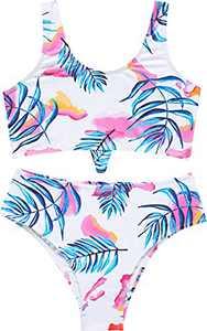 Loncoco Little Girl Swimsuits Two Piece Swimwear Straps Sleeveless Bathing Suit Kids Cute Tankini Size 7
