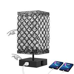 Touch Control Table Lamp, Dimmable Nightstand Lamps, Black Bedside Lamp with USB Ports and Outlet, Crystal Table Lamp for Living Room and Bedroom, LED Bulb Included