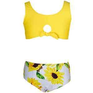 Loncoco Girls Sunflower Printing Bathing Suits Two Piece High Waist Swimsuits Size 7