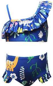 Loncoco Girl's Bikini Set Flounce Two Piece Swimsuits Kids Ruffled One Shoulder Bathing Suits Size 5