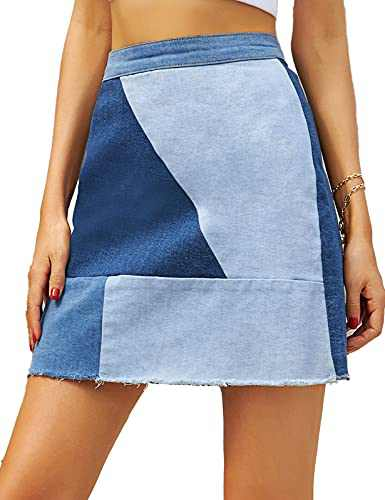 GRACE KARIN Womens High Waisted Color Blocking Patchwork Stretch Denim Skirts Casual Jean Mini Skirt Blue L