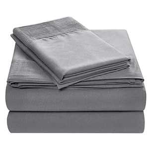 """Satisinside Twin 3Pcs Bed Sheets Set, Deluxe Pintuck Designs, Extra Soft Hotel Quality Brushed Microfiber, Deep Pocket Fits Mattress Up to 18"""" ,Silver Gray"""