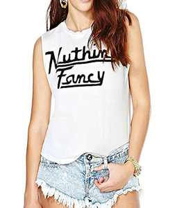 Womens Vintage White Sleeveless Funny Print Nuthin Fancy Graphic Shirt Tank Top Tee (M)