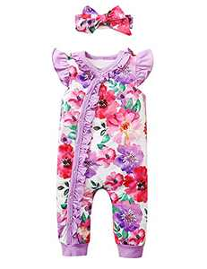 Happidoo BabyGirlOutfit Sleeveless Floral Romper Coming Home Outfit(Purple-Sleeveless,12-18 Months)