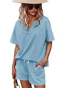 CORSKI Women's Short Sleeve Tops and Shorts Summer Lounge Set Pullover Sweatsuit 2 Piece Outfits Light Blue L