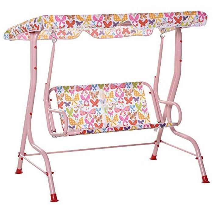 Outsunny Kids Two-Seater Swing Chair Double Garden Seat w/Belt Adjustable Canopy Fun Toddler Glider Hammock Lounge Backyard Blue