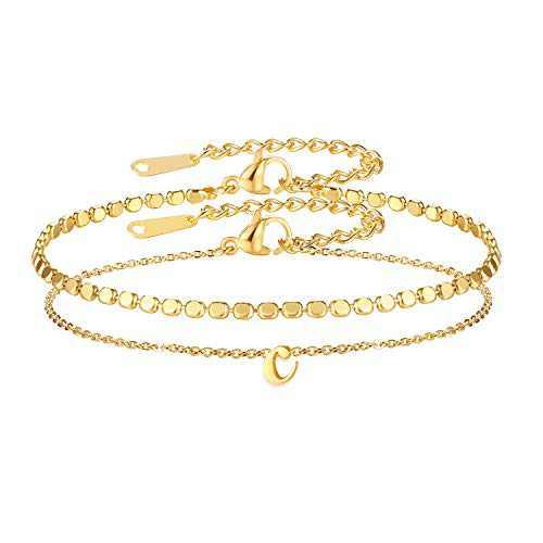 VLINRAS Dainty Initial Bracelet for Girls, Gold Dot Chain c Letter Layered Bracelet for Women Daughter Bridesmaid Gifts