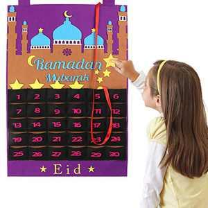 MACLARONX Ramadan Calendar Eid Mubarak Hanging Countdown Calendar, Advent Calendar 2021 Tracker Date Eid Gift Ramadan Decor with 30 Stars for Kids