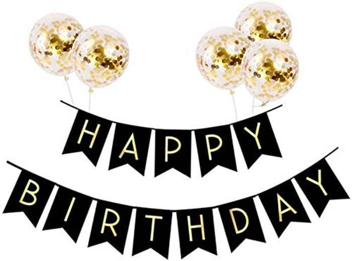 Happy Birthday Banner Birthday Bunting with 5 Gold Confetti Latex Balloons Perfect for Birthday Party Backdrop Decorations (Black)