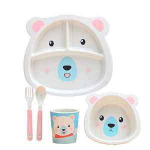 5Pcs / Set Bamboo Fiber Tableware Toddler Board Food Plate Bowl Cup Spoon Fork Sets Cartoon Dinnerware Tableware (Polar Bear)
