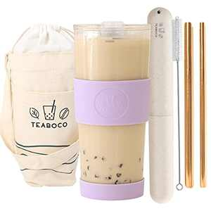 All-in-One Reusable Boba Cup / Smoothie Tumbler - 24oz BPA FREE Bottle with Leak Proof Lid, Silicone Sleeve and Two Metal Straws for Water, Juice, Smoothies, Bubble Milk Tea and Coffee (Lilac Purple)
