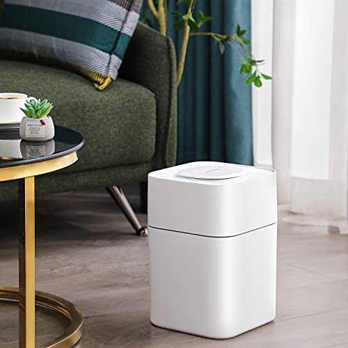 JOYBOS Bathroom Trash Can Lids   Plastic Garbage Container Bin with Press Top Lid   White Square Waste Basket 14L   3.7 Gallon Rubbish Basket for Home Kitchen and Office