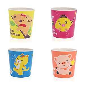 Bamboo Fiber Cups Set, 4Pcs Bamboo Fiber Toddler Cups Suit Cartoon Animal Cute Creative Cups Set Reusable Drinking Cups Dishwasher Drop-Resistant (4pcs-cups-A)