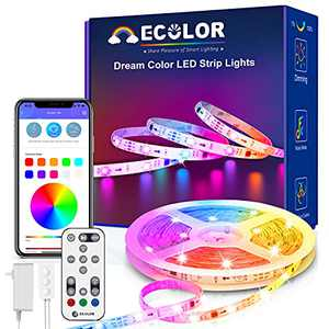 ECOLOR LED Strip Lights - Rainbow LED Lights Strip with App Control, Music Sync Color Changing Lights for Bedroom Party Home Decoration, 16.4ft