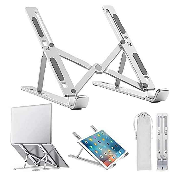 """BLOOMERRY Adjustable Laptop Stand Foldable Aluminum Laptop Riser Laptop Holder for Desk Ventilated Cooling Notebook Stand Mount for MacBook Pro/Air, HP, Lenovo, Sony, Dell, 10-15.6""""Laptops Tablet"""