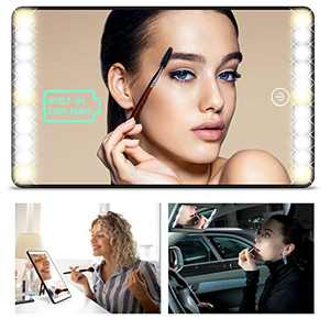 Car Visor Vanity Mirror with LED Light (3 in 1) Portable Travel Makeup Mirror, One-Touch Dimming and Built-in Rechargeable Lithium Battery for Desktop Cosmetic Mirror 3 Light Mode, Easy to Install