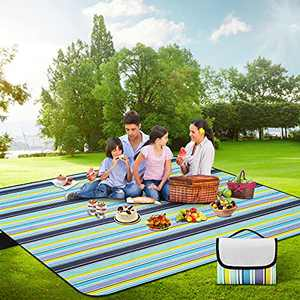 Yizhet Picnic Blanket, 80''x80''Portable Waterproof Picnic Blankets, Sandproof and Easy to Clean Beach Blanket Folding Comfortable Outdoor Picnic Mat Great for Camping, Park, Grass, Beach (Grey)