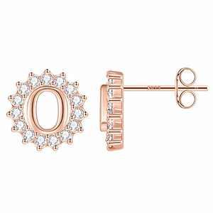 Little Girl Earrings Sun Earringsfor Girls, Rose Gold Plated Girls Earrings S925 Sterling Silver Post Little Girl Earrings Kids Earrings for Girls Letter O Initial Earrings for Girls Kids Teen Girls
