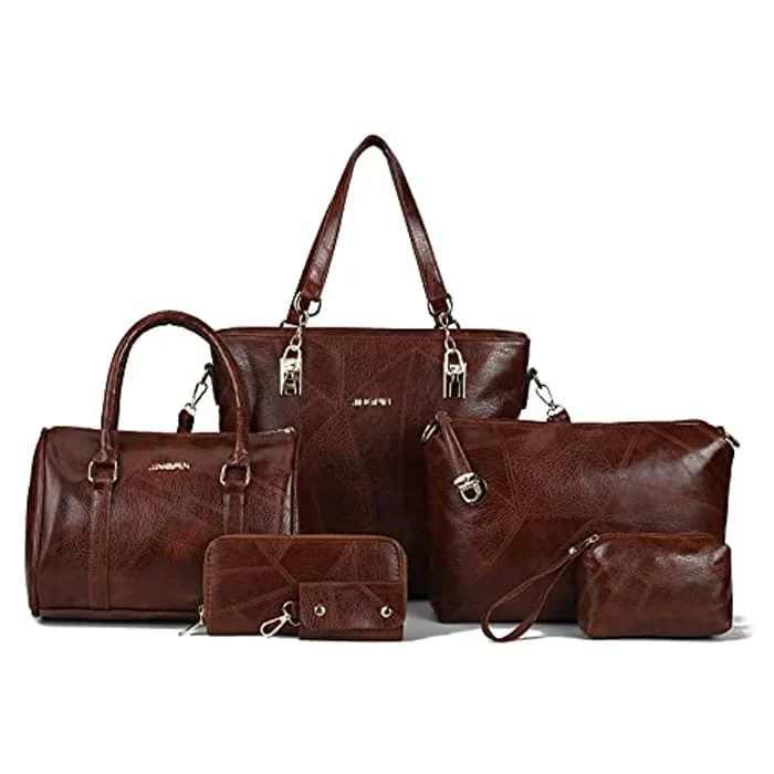 Women's Top Handle Bags,Large Tote Hobo Shoulder Bags,Waterproof Hobo Messenger,Vintage Handbags Purse Clutch Wallet Set,6pcs