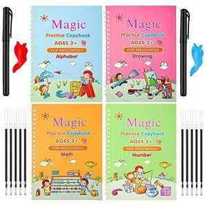 4pcs Magic Practice Copybook for Kids - Reusable Handwriting Calligraphy Workbook for Beginners - Preschoolers & Kindergarten Writing Paper(4 Books with pens Set)