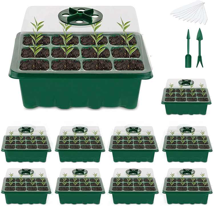 ZAHRVIA Seed Starter Tray (12 Cells per Tray) Humidity Adjustable Seed Starter Kit with Dome and Base Greenhouse Grow Trays for Seedling, Seed Starting, Seed Growing(10 PACK)