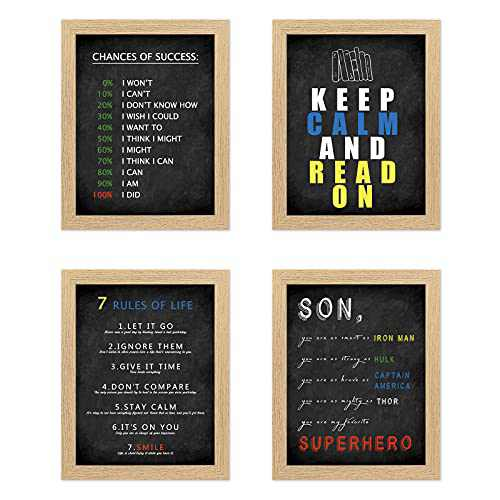 """Mignombre 4PCs Wall Art Decor 8""""x10"""" Framed Prints Set with 3 Themes: Unicorn for Girls Room, Inspirational Wall Art Office, Fun Words Bathroom Decor -4 Farmhouse style Rustic wooden Frames"""