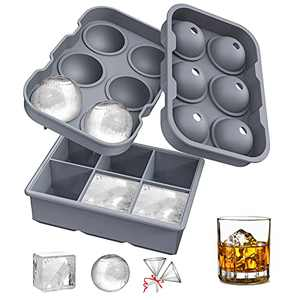 Ice Cube Trays, Katbite Large Silicone Ice Cube Trays for Freezer, Reusable Ball Ice Cube Trays with Lid for Whisky, Red Wine, Cocktail, Non-stick Easy to Relased