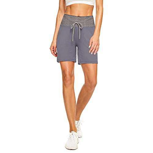 "TNNZEET 5"" Casual Shorts for Women – Workout Yoga Shorts Lounge Summer Sleep Pajama Bottoms Grey"