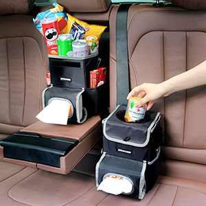 Car Trash Can with Lid, SANIWISE Hanging Car Garbage Can with Storage Pockets and Wipes Holder, Waterproof Vehicle Waste Bin Leak-Proof Liner Front Seat Headrest Keeps Auto Interior Clean Cute 2 Pcs