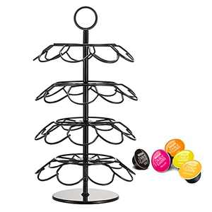 KIMIUP Coffee Pod Holder, Coffee Pod Storage Organizer Stand, Coffee Capsule Holder Compatible with 36 Cup Pods for Kitchen Office Home Bar (Black)