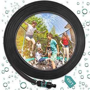 RAYOCON Trampoline Water Sprinklers,49ft Outdoor Trampoline Misting Cooling System for Kids, Funny Garden Summer Sprinkler Accessories for Trampoline Waterpark Yard