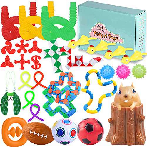 Kiss Monkey 33 Pack Sensory Toys Set, Relieves Stress and Anxiety Fidget Packs for Children Adults, Special Toys Assortment for Birthday Party Favors, Classroom Rewards Prizes, Carnival