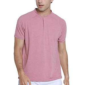 waveflower Men's Short Sleeve, Summer Casual Front Placket Fashion Regular-Fit Henley T-Shirt Pink