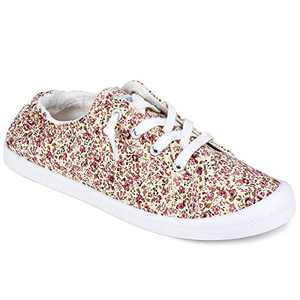 JENN ARDOR Women's Slip-On Sneakers Fashion Canvas Sneakers Lightweight Comfort Low Top Casual Shoes Lace-up Classic Walking Shoes