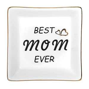 Christmas Gift Stocking Stuffers for Mom, Ceramic Ring Dish Jewelry Tray, Christmas Birthday Thanksgiving Day Gift - BEST MOM EVER