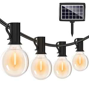 Solar String Lights Outdoor-27FT G40 Patio Lights with Shatterproof Edison Bulbs(1 Spare)Commercial Waterproof Hanging Lights for Backyard Balcony Bistro Party Decor…