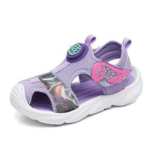 UBFEN Girls Sandals Summer Outdoor Beach Shoes Kids Sports Quick-Drying Non-Slip Closed Toe Sneakers Purple
