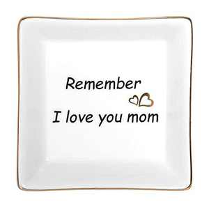 Christmas Gift Stocking Stuffers for Mom, Ceramic Ring Dish Jewelry Tray, Christmas Birthday Thanksgiving Day Gift - Remember I Love You Mom
