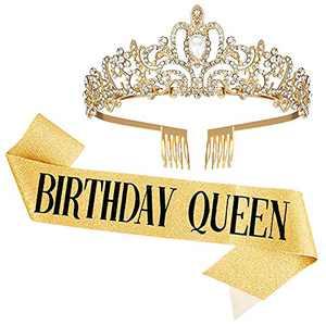shinybin Birthday Queen Tiara Sash, Gold Crystal Crowns with Combs Birthday Sash for Women Birthday Party Supplies Kits