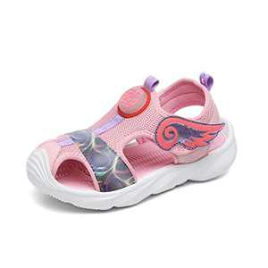 UBFEN Girls Sandals Summer Outdoor Beach Shoes Kids Sports Quick-Drying Non-Slip Closed Toe Sneakers Pink