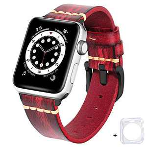 BEAFIRY Compatible with Apple Watch Band 38mm 40mm 42mm 44mm, Brush off Leather Watch Strap Compatible with IWATCH Series 6/5/4/3/2/1 SE Red Black Buckle