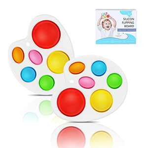 Simple Dimple Toy Fidget Toy, Silicone Flipping Board Toys,Early Educational Toy, Toddlers Toy, Stress Relief Sensory Hand Toy for Kids Adults, Teething Toy for Age 6 Months and up
