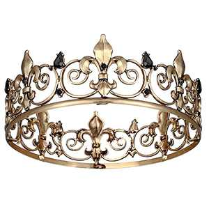 Crystal Crowns for Men, Black Full Round Mens Hair Accessories Tiaras Halloween Cosplay Crowns