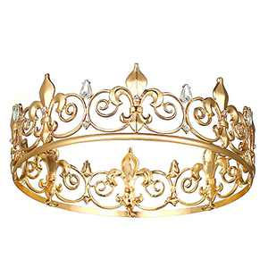 Full King Crowns for Men, Gold Royal Crown Birthday Crowns and Tiaras Party Cosplay Headbands for Men