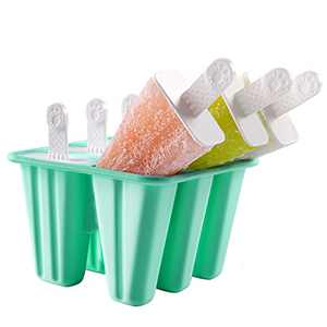 DOQAUS Ice Pop Molds with Sticks, Silicone Ice Pop Maker Easy Release, Reusable Ice Cream Molds with Ice Cream Recipe, Dishwasher Safe, LFGB Certified & BPA Free, Set of 6 Ice Cream Molds for Kid DIY